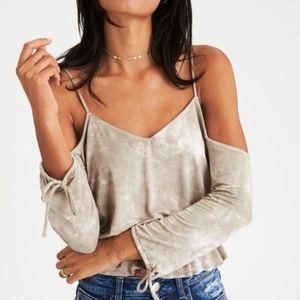 AEO Soft & Sexy Cold Shoulder Tie-sleeve Top XS